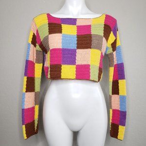 Moda Int'l | Square Patchwork Crochet  Sweater S